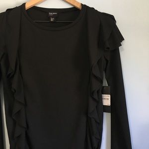 NWT Free Press Bell Sleeve  ruffled arm blouse S